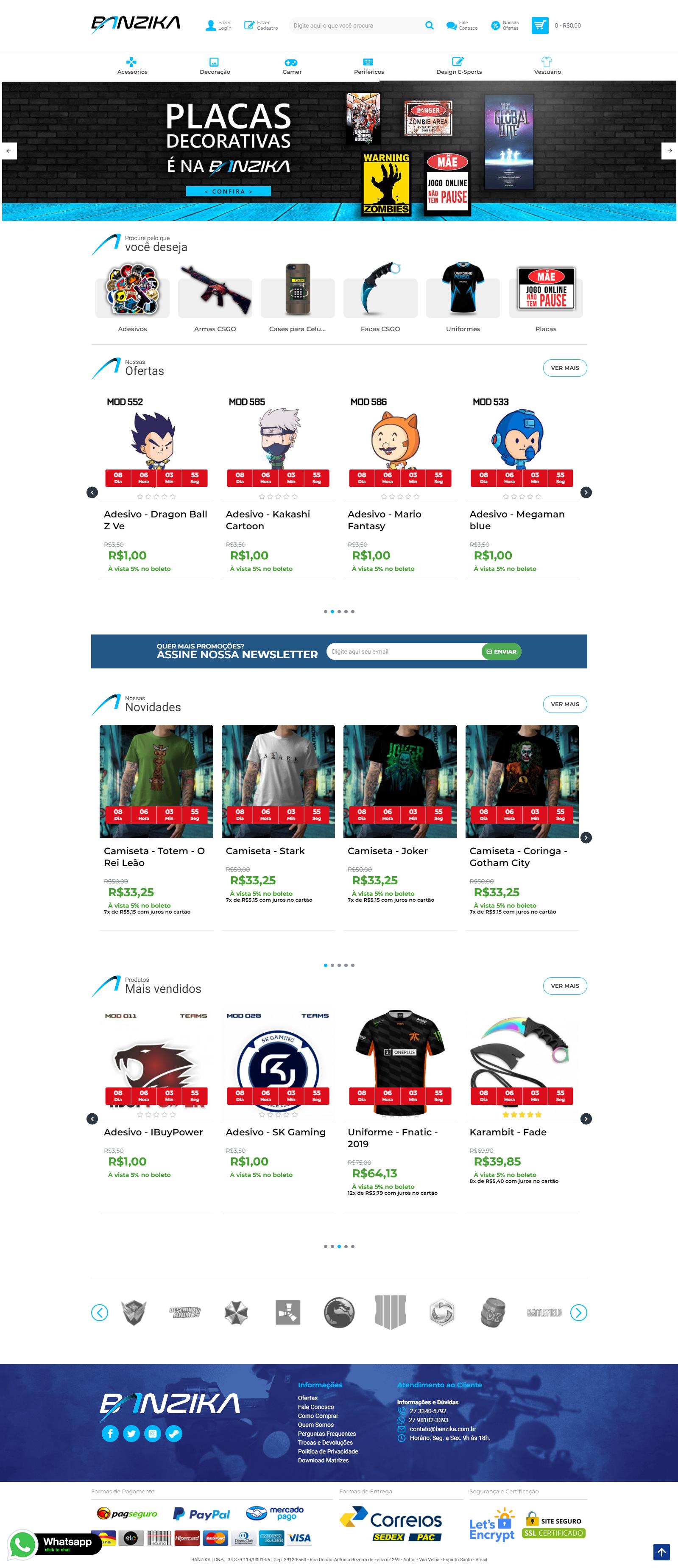 E-commerce Artigos Geek e Personalizados Banzika