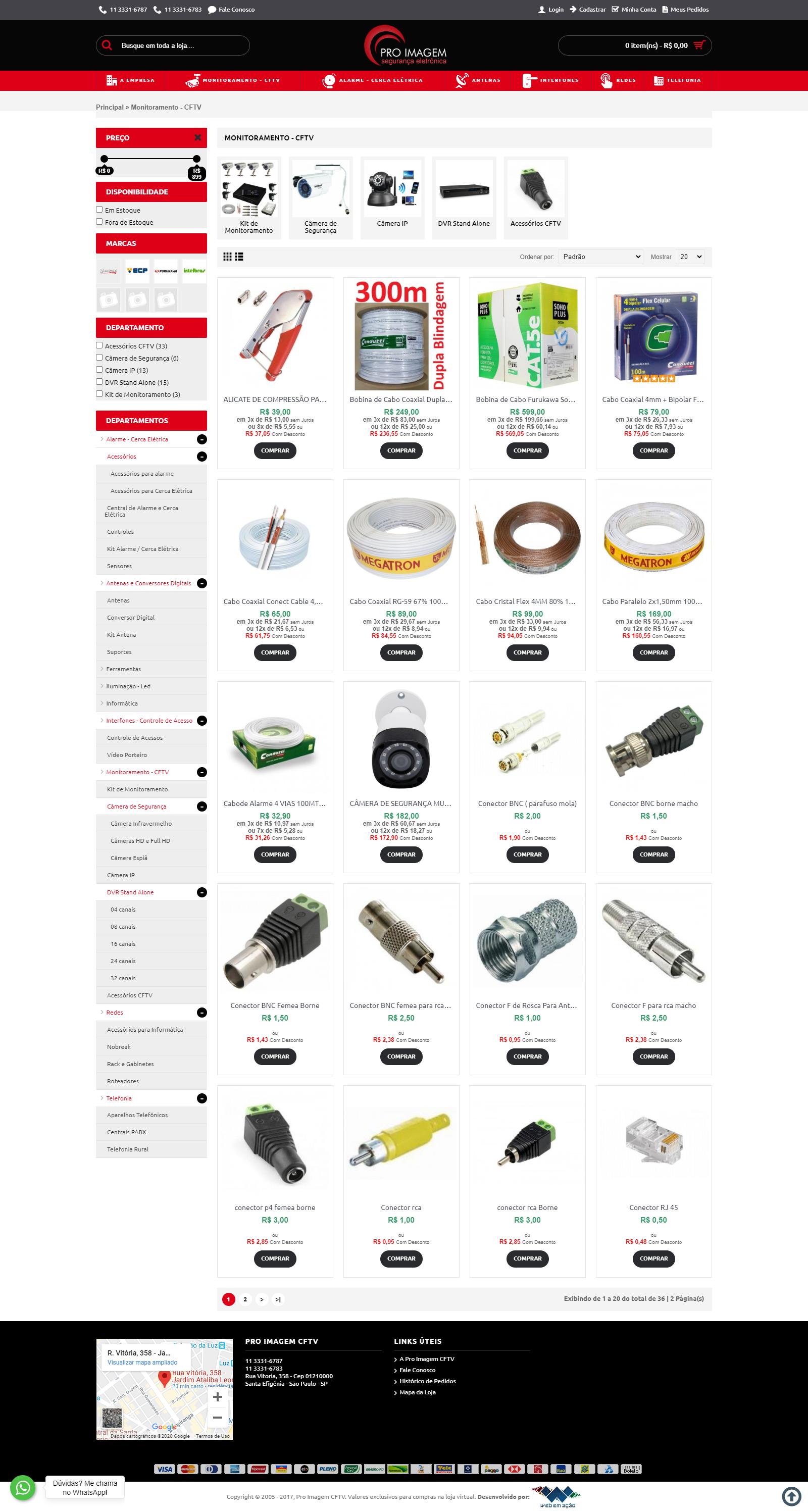 E-commerce para produtos CFTV da Pro Imagem Segurança Eletrônica